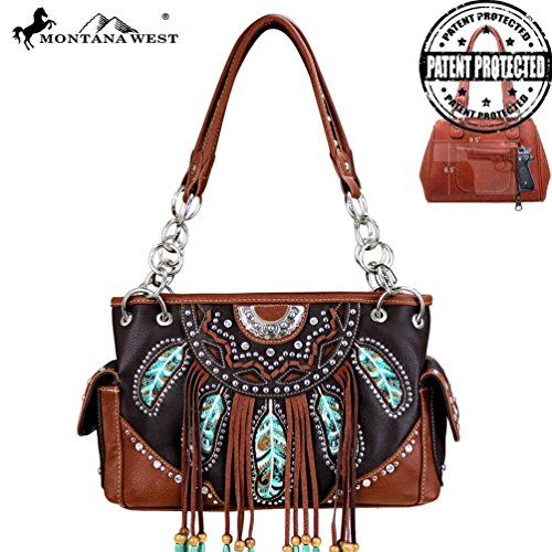 Mw377g-8085 Montana West Fringe Collection Concealed Handgun Satchel Bag-coffee