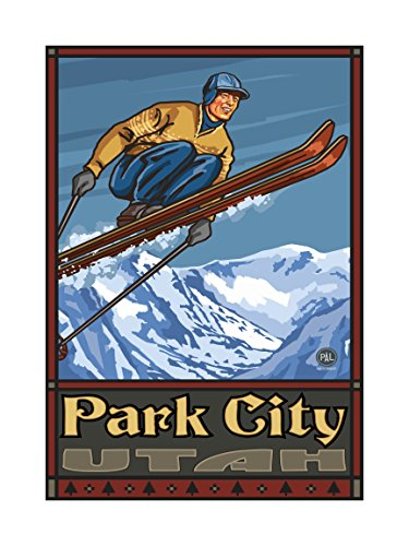 Northwest Art Mall PAL-0169L SJ Park City Utah Ski Jumper Artwork by Paul A. Lanquist, 18 by - City Utah Park In Mall