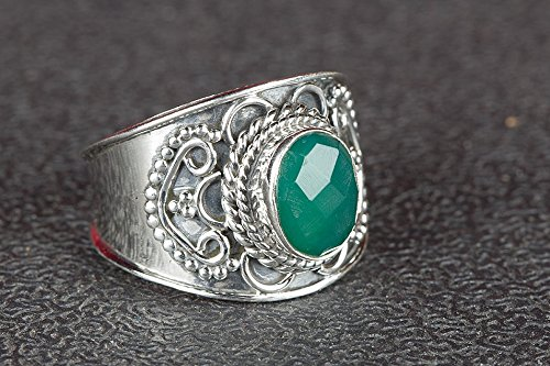 Onyx Wide Band Ring - Green Onyx Ring, 925 Sterling Silver, Wide Band Ring, Designer Ring, Healing Ring, Elegant Ring, Classy Ring, Alternative Ring, Gorgeous Ring, Birthstone Ring, Gift, US All Size Ring 3-15 (Standard)