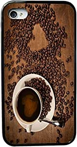 Heart shape from coffee beans on wood Design Personality Silicon Rubber Luxury Cover Case for iphone 4 4s (Black) By ALL MY DREAMS!!