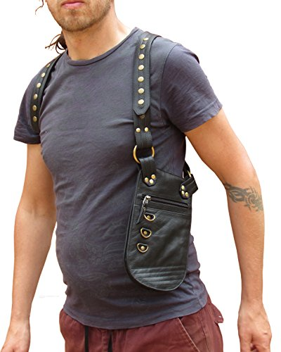 One Leaf Underarm Holster Leather Travel Pouch - 2017 Version (Black) by Oneleaf