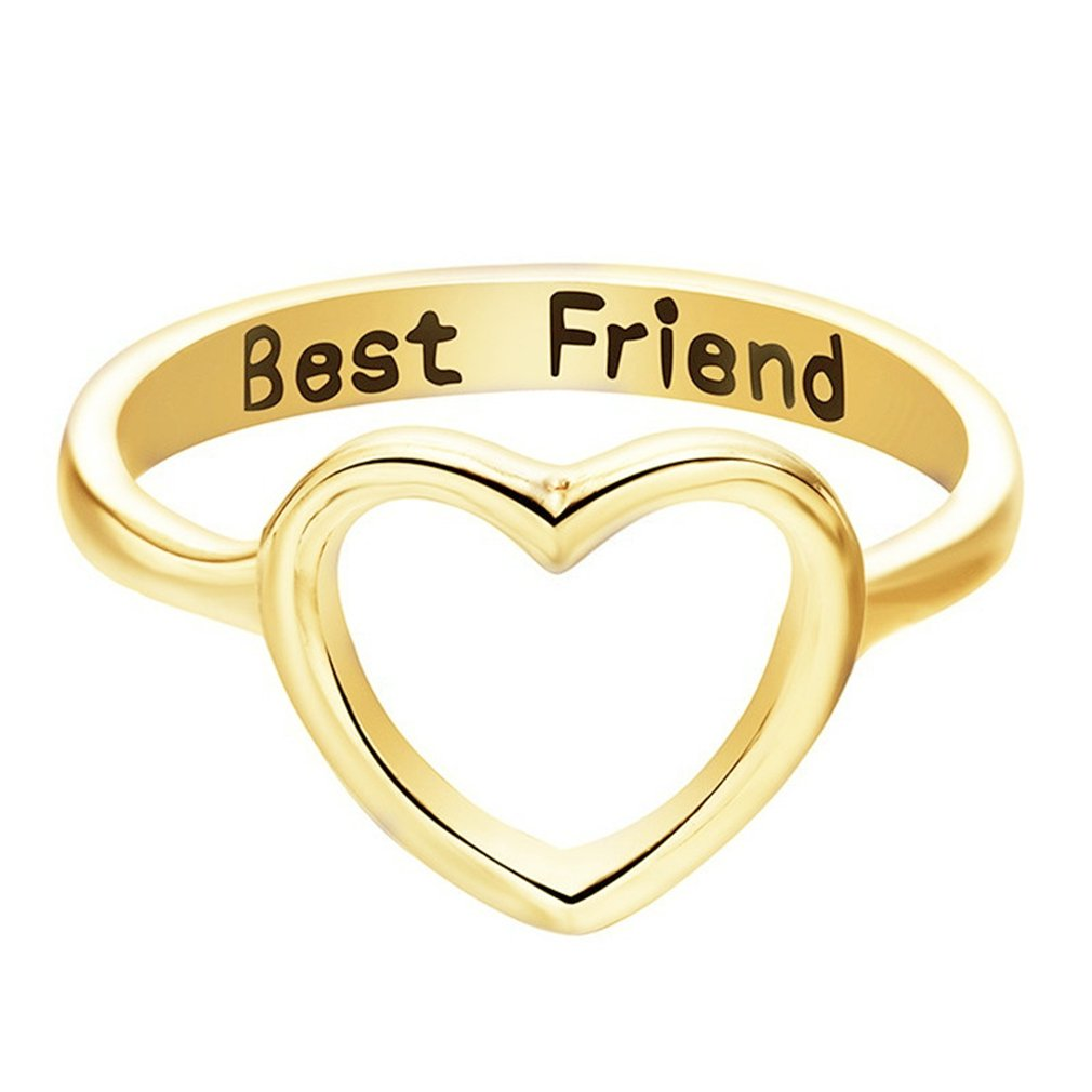 GUAngqi Fashion Best Friends Letter Ring Simple Hollow Heart Ring Friendship Jewelry Toe Ring,6
