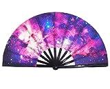 Amajiji Large Galaxy Folding Fan, Chinease/Japanese Folding Nylon-Cloth Hand Fan, Hand Folding Fans for Women/Men, Hand Fan Festival Gift Fan Craft fan Folding Fan Dance Fan (AM2)