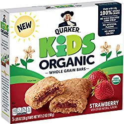 Quaker Kids Organic Whole Grain Bars, Strawberry, 5 – 1.05oz Bars