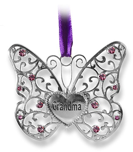 "Price comparison product image Butterfly Ornament - Grandma Butterfly - Silver Metal Filigree Butterfly with Jewels Heart Shaped Charm Engraved with Grandma - Gifts for Grandma - Grandma Christmas Ornament - 3""W x 2.75""H"