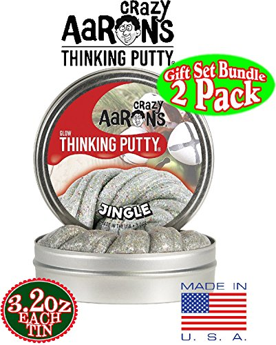 Crazy Aaron's Thinking Putty Holiday (Christmas) Tins ''Jingle'' Glow in the Dark w/Charger, ''North Star'' Cosmic Glow in the Dark w/Charger & Exclusive Storage Bag - 2 Pack by Crazy Aaron's (Image #1)