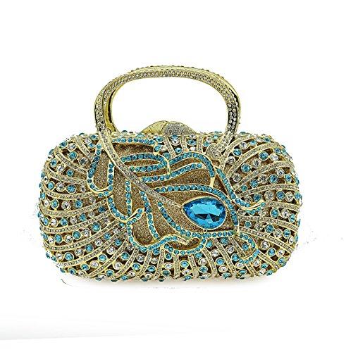 De Nuptiale Embrayage À Sac Paquet Soirée Luxe Dames Métal Main Dîner Full Blue Sacs 8TPzzwE