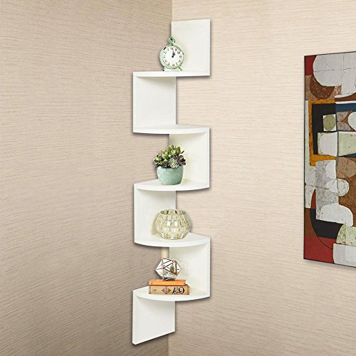 USSay ETohio Stackable 5 Tiers Corner Wall Shelf Hanging Wall Shelves corner shelves Hanging Corner Storage, 5-7 Days You Can Receive the Goods (Slide Shelf Laminate)