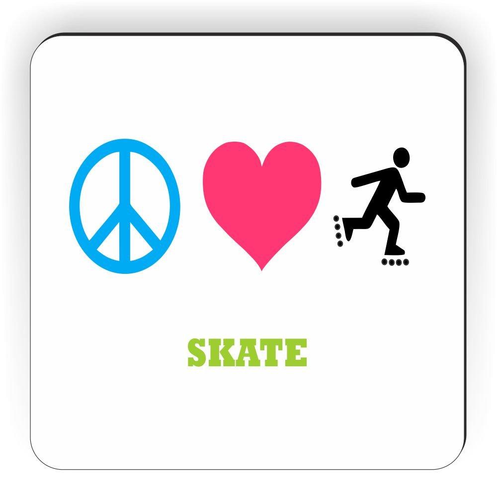 Rikki Knight Peace Love Skate Design Square Fridge Magnet