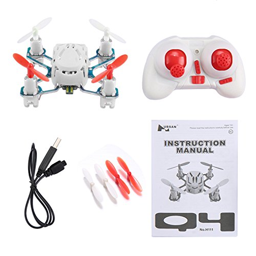 51B1RZqijSL COOCHEER Hubsan H111 Q4 Nano 4-Channel 6 Axis Gyro RC Mini Drone Quadcopter with 2.4Ghz Radio System Mode 2 RTF for Kids (White)