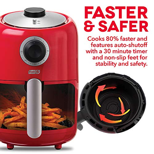 Dash Compact Air Fryer 1.2 L Electric Air Fryer Oven Cooker with Temperature Control, Non Stick Fry Basket, Recipe Guide + Auto Shut off Feature - Red by Dash (Image #5)