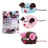 Savvy Tabby Polyester/Felt Snuggle Mice Cat Toys Canister, 48-Pack