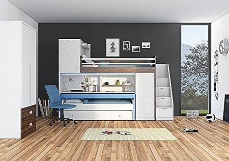 Etagenbett Schreibtisch : Newjoy kinder jugend komplettzimmer tower mit hochbett