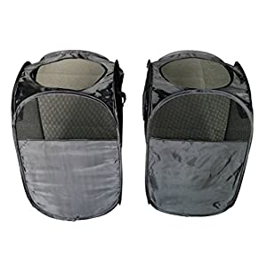 Sodynee 2-Pack Foldable Pop-Up Mesh Laundry Hamper Basket,Folding Laundry Clothes Hampers Sorter Baskets