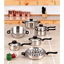 7-ply Steam Control 17pc T304 Stainless Steel Waterless Cookware Set Pots & Pans Fast Shipping