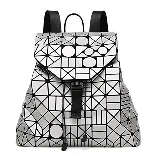 kaoling Mochila para mujer Mochila geométrica Logotipo famoso Bolsa Mochila mate para superficie Paquete de estudiante Packback 12 colores white silver