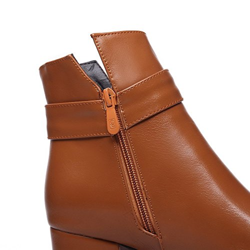 WeenFashion Heels Pointed Low Kitten Brown Toe Closed Boots top Solid Material Soft Women's rwRqAra