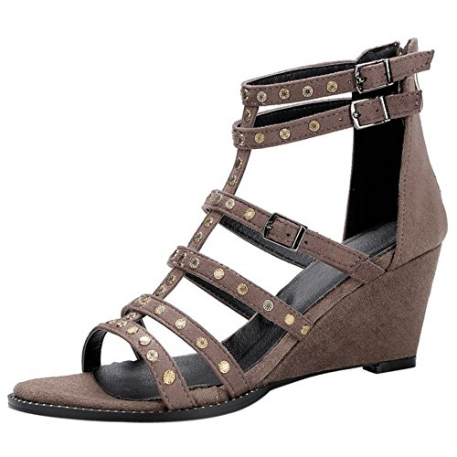 FANIMILA Mujer Moda Hueco Tacon de Cuna Sandalias Verano Colegio Cremallera Zapatos Khaki