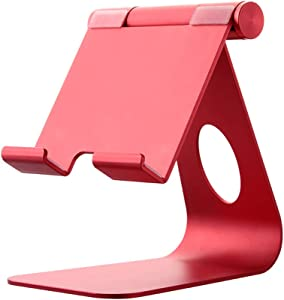 Tablet Stand Adjustable, Tablet Stand : Desktop Stand Holder Dock Compatible with iPad Pro 9.7, 10.5, Air Mini 4 3 2, Kindle, Nexus, Tab, E-Reader (4-13'') (Red)