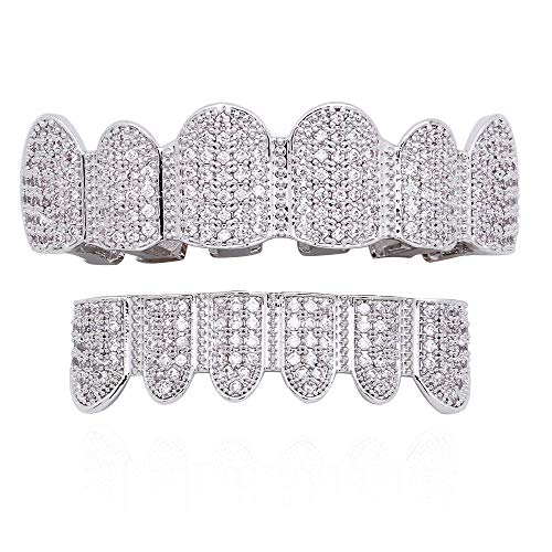 LuReen 18K Gold Plated Grillz CZ Iced Out Teeth Top & Bottom Set Micropave Lab Simulated Diamonds Grillz+ 2 Extra Molding Bars (Silver Set)