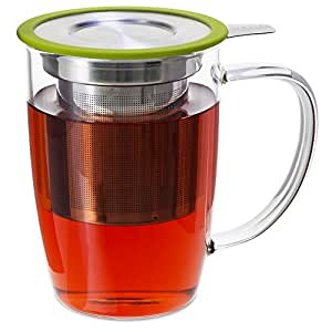 FORLIFE NewLeaf Glass Tea 16-Ounce Mug with Infuser and Lid, Lime