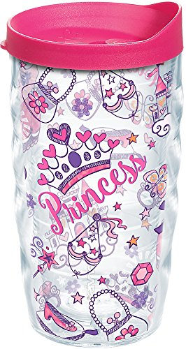 Tervis 1223665 Princess Party Tumbler with Wrap and Fuchsia Lid 10oz Wavy, Clear