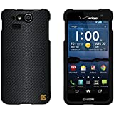 Slim Light Weight 2 piece Snap On Non-Slip Matte Hard Shell Design Rubber Coated Rubberized Case Cover With Premium Protection For Kyocera Hydro Elite C6750 - Black Carbon Fiber - Black