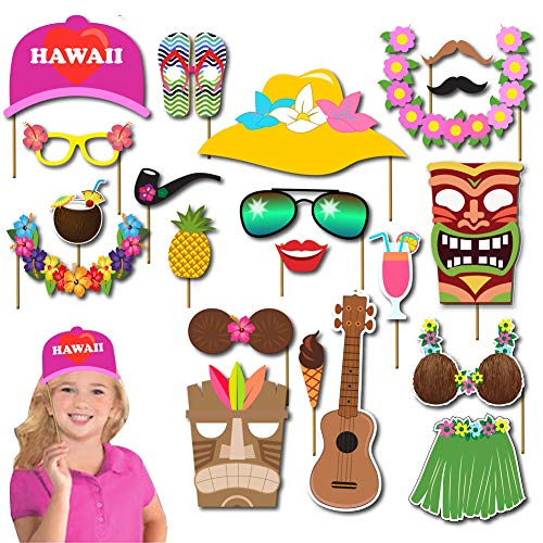 Luau party supplies decorations photo booth props Kit 36Pcs Aloh/Hawaiian/Tropical/Tiki/beach/Summer Pool Party favors for kids Supplies