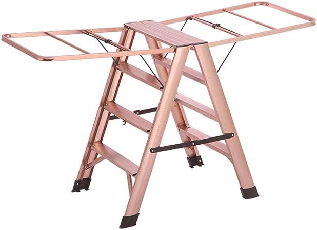 XSJZ Escalera de Aluminio Escalera de peldaños Escalera de aleación de Aluminio de Interior Plegable Colgador de Ropa Multifuncional Taburetes de pie de Doble Uso de pie Escalera de Mano: Amazon.es: Hogar