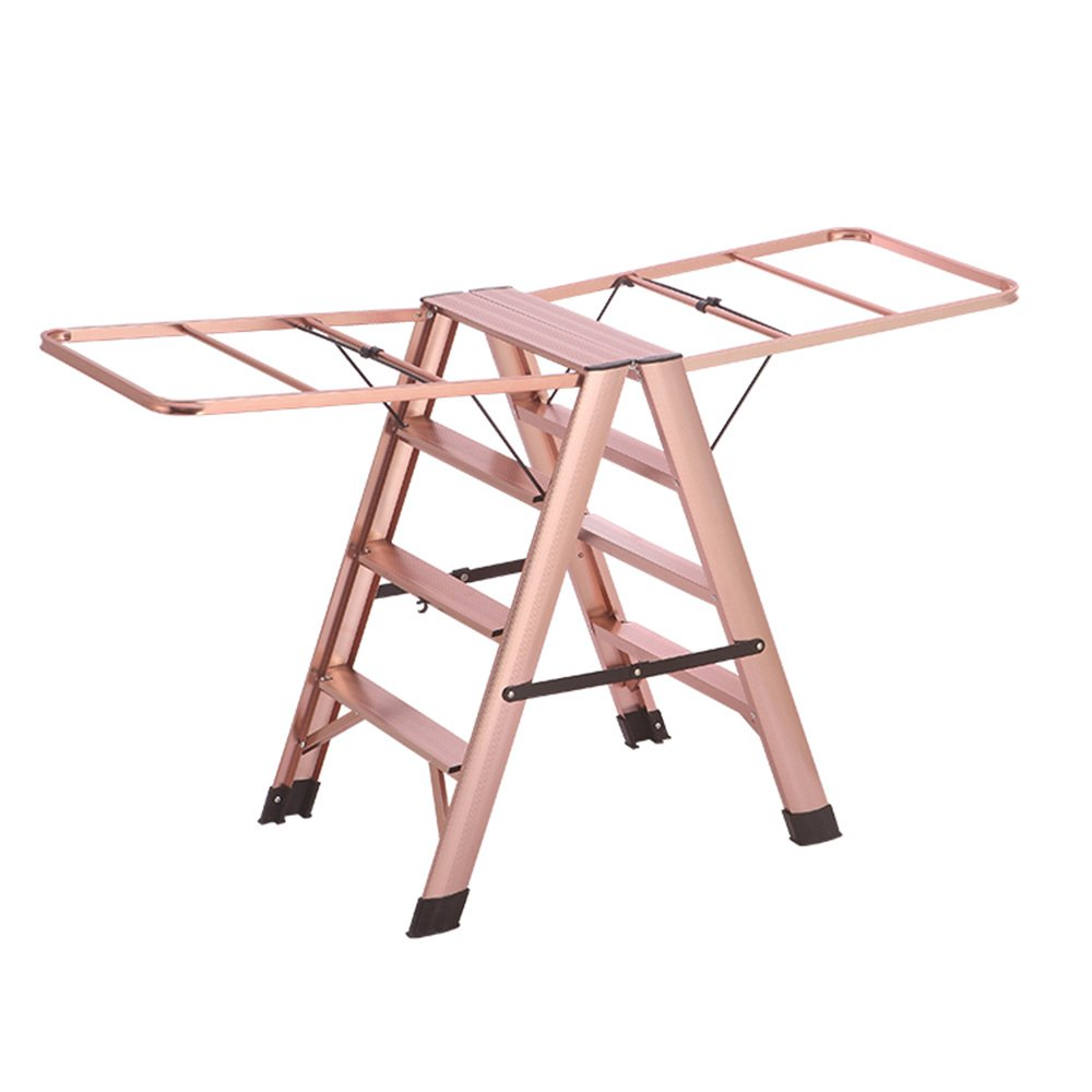 Pink 507380CM Liu JianQin Step Stools ZXQZ Step Stool Indoor Aluminum Alloy Ladder Folding Multifunctional Clothes Hanger Floor-standing Dual-use Step Stools Stepladders (color   Silver, Size   507380CM)