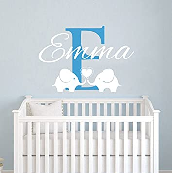 Personalized Name Wall Decals Elephant Custom Name Baby Boys Decal Children  Nursery Girls Room Kids Wall Part 51