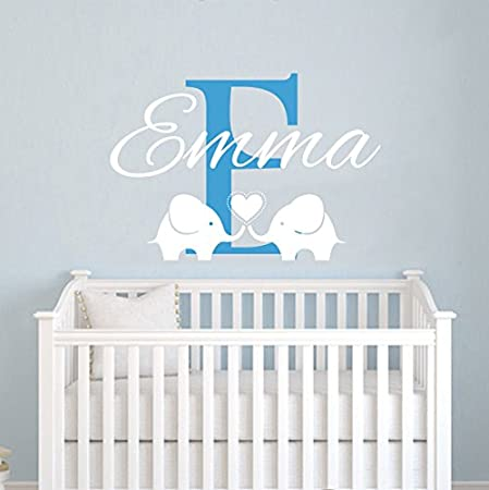 Childrens Name Elephant Wall Decal   Name Wall Decal   Baby Girls Nursery Wall  Decal