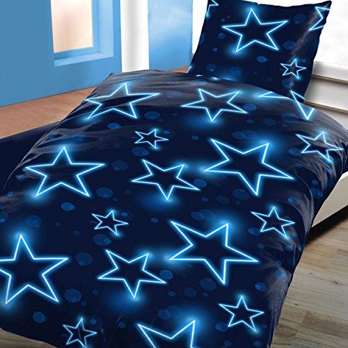 Bettwäsche Microfaser Sterne Blau 135x200 Allergiker Geeignet