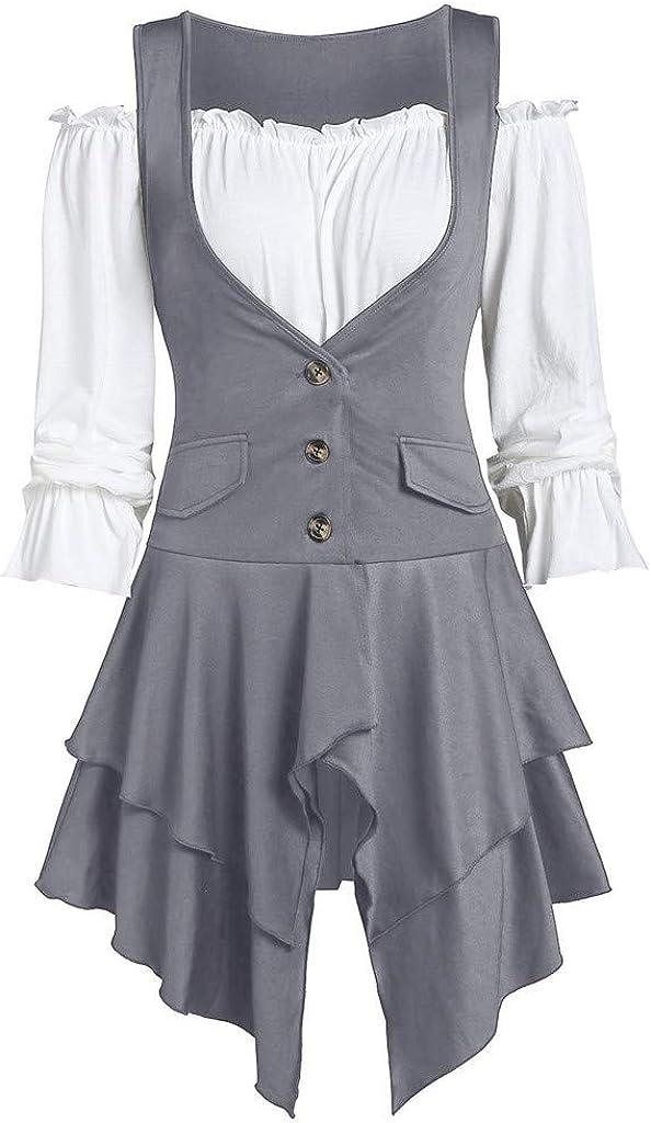 Women Plus Size Coat Blouse Button Two-Piece Set Pocket Tank Long Sleeve Top