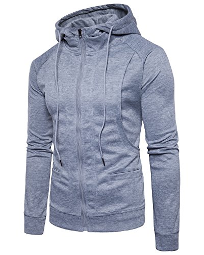 Mens Active Hoodies Jacket Coat Zipper Pullover Sweatshirts Pocket Slim Fit Tone Color (Coat Cotton Athletic)