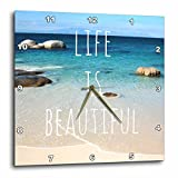 Cheap 3dRose dpp_151390_3 Life Is Beautiful Positive Affirmations Inspiring Nature Beach Photography Words Saying Wall Clock, 15 by 15-Inch
