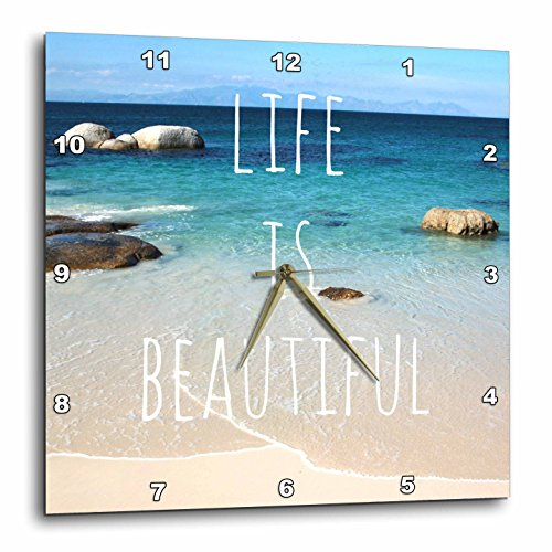3dRose dpp_151390_2 Life is Beautiful Positive Affirmations Inspiring Nature Beach Photography Words Saying Wall Clock, 13 by 13-Inch