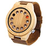 FunkyTop Men's Retro Natural Bamboo Wooden Watches Japan Movement Quartz with Leather Strap 12 Holes Design Wristwatches(Brown#1)