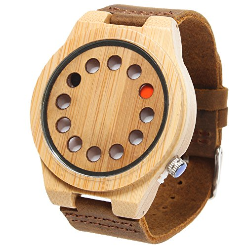 FunkyTop Mens Women Unisex Retro Natural Bamboo Wooden Watches Japan Movement Quartz with Leather Strap 12 Holes Design Wristwatches(Brown#1) (Japan Movement)