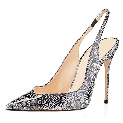 Sammitop Womens Pointed Toe Slingback Pumps High Heel Summer Dress Shoes Floral-black nJzxRoDbo