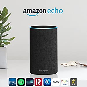 Amazon Echo (2. Generation), Intelligenter Lautsprecher mit Alexa, Anthrazit Stoff