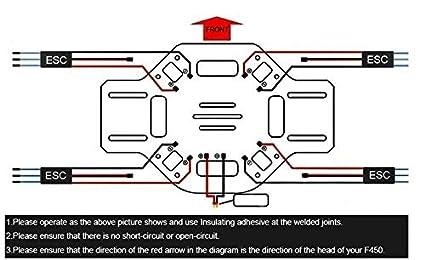 amazon com tekit 4 axis hj450 frame airframe flamewheel strong rh amazon com