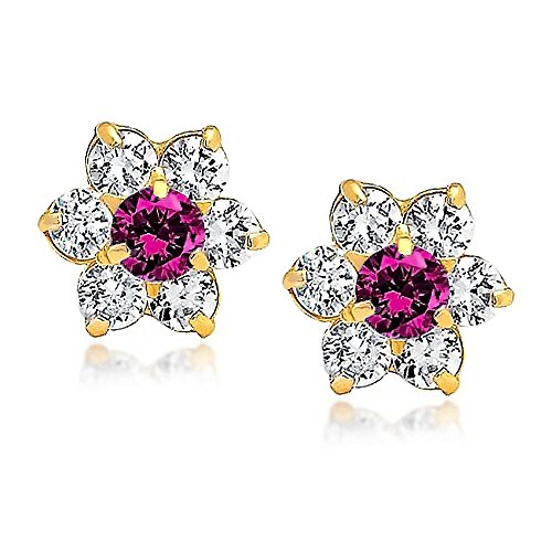 Tiny Fuchsia Pink CZ Flower Stud Earrings For Women For Teen Cubic Zirconia Simulated Ruby 14K Real Gold Screwback