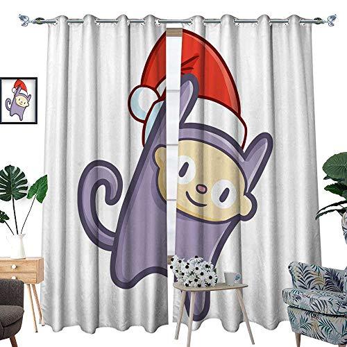 (longbuyer Window Curtain 2 Panel Purple Monkey Wearing Santa s hat for Christmas W96 x L108)