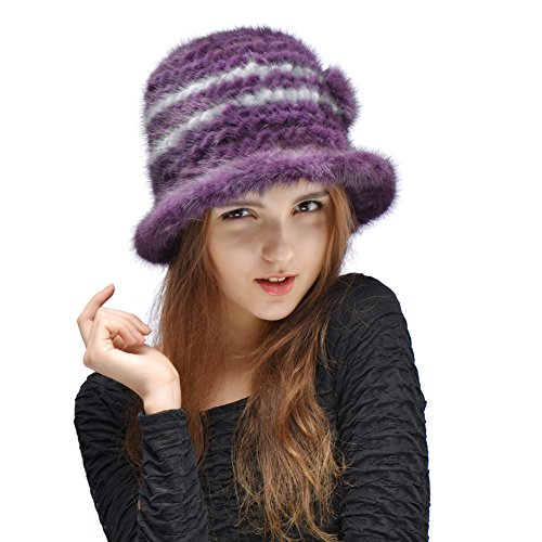 Bellefur Women Real Knitted Mink Fur Bucket Hat Purple