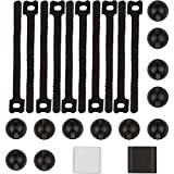 Cable Management by NeetGeek | 24 Piece Cable Organizer | Adhesive Cable Clips and Reusable Zip Ties