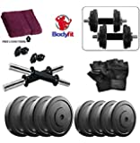 BODYFIT Pvc 20 Kg Adjustable Fitness Dumbells Set Home Gym With Gym Towel