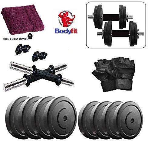 Bodyfit Pvc 12 Kg Adjustable Fitness Dumbells Set Home Gym With Gym Towel