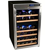 Edgestar 34 Bottle Free Standing Dual Zone Wine Cooler - Black/Stainless Steel
