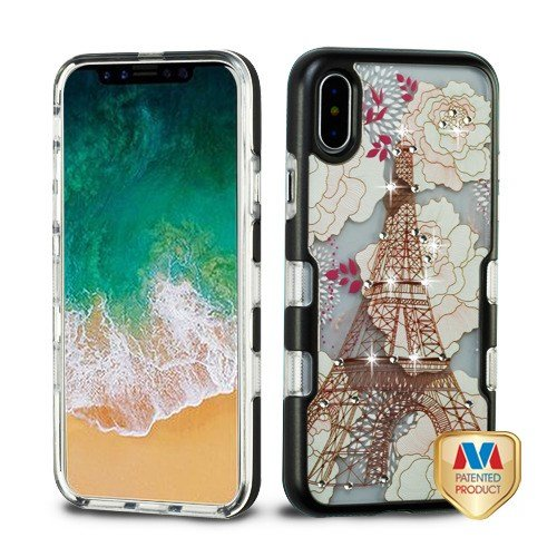 Price comparison product image iPhone X Case, Mybat Tuff Eiffel Tower Dual Layer [Shock Absorbing] Protection Hybrid TPU Rubber Candy Skin Case Cover For Apple iPhone X, Multi-Color